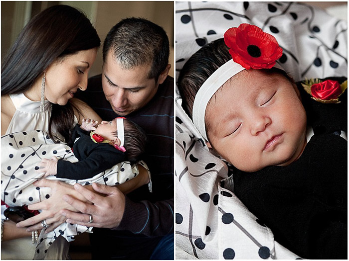 A diptych portrait of a couple holding their baby, and a close up newborn portrait